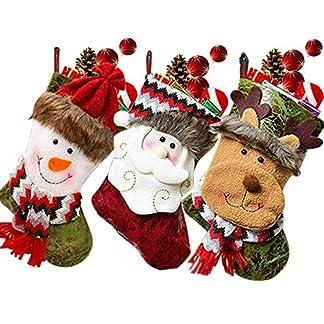 SPECOOL – Medias Colgantes para Navidad, 3 Unidades, Hechas a Mano, para decoración, Bolsa de Caramelos con Bordado 3D de Papá Noel, Reno, muñeco de Nieve para Rellenar y Colgar en Cuero