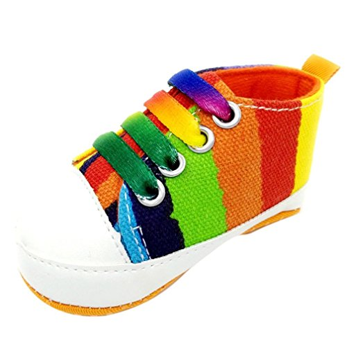Ouneed® Krabbelschuhe , Baby Mädchen Jungen beschuht Turnschuh rutschfeste weiche alleinige Kleinkind bunte Segeltuch Schuhe Orange