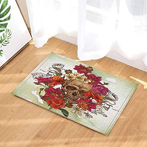 CHENGLVV Sugar Skull Decor,Schädel In Aquarell Rose Flower Badteppiche,Rutschfeste Fußmatte Bodeneintrittsmöglichkeiten Innenvorderseite Fußmatte,Kinder Badematte,40X60Cm,Bad-Accessoires (Badematte Schädel)