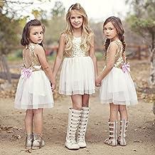 Vestidos niñas,Switchali Niños Lentejuelas bebe nina Bowknot Vestido Escotado por detrás Vestido de fiesta Dama de honor Princesa Vestidos chicas Moda Tutú vestido para chicas