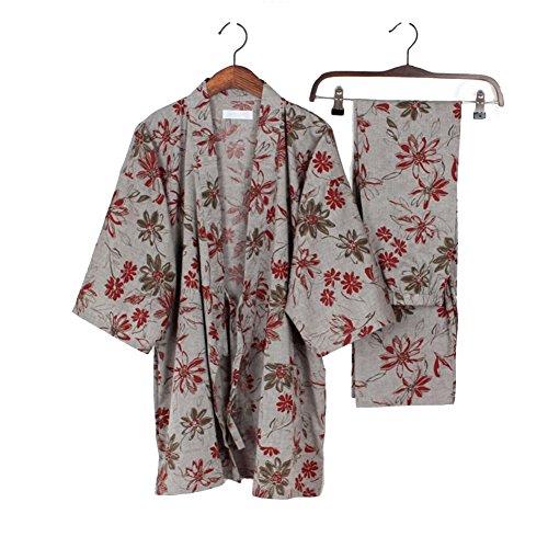Elegante Frauen Japanischen Stil Langarm Roben Baumwolle Kimono Pyjamas Anzug Morgenmantel Set-# A (Seide Weihnachten Kleid Rote)