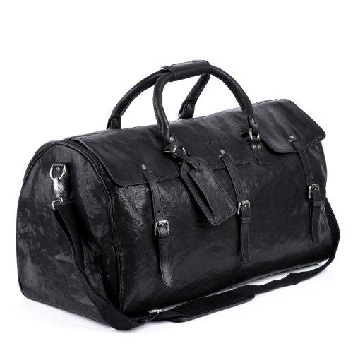FEYNSINN Reisetasche echt Leder Phoenix XL groß Sporttasche groß Weekender Ledertasche Herren 60 cm schwarz