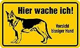 Schild Alu Hier wache ich! Vorsicht bissiger Hund 120 x 200 mm (Achtung Wachhund, freilaufender Hund) wetterfest