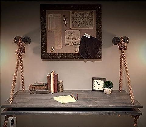 Hanf Seil Holz Industrie Stil Wand Tisch Wand montiert Tisch Küche Esstisch Computer Schreibtisch Kreativ Arbeitstisch Wand hängen ( größe : 80*40m )
