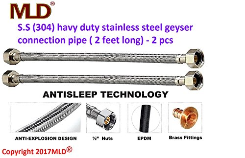 MLD® hot & cold water stainless steel geyser connection pipe (2 feet long) -set of-1  available at amazon for Rs.444