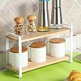 Dokumentenportal Küche Storage Shelves Pan Pot Rack, Massivholz Würzmischung 2 Layer Frame, Double Seasoning Eckzarge, Regal