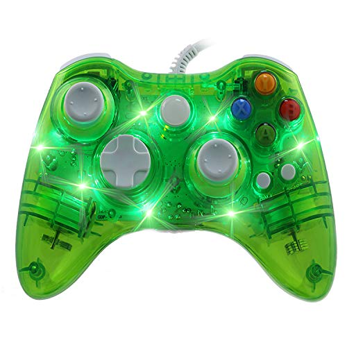 Sofobod Xbox 360 Controller USB Wired Headset for Microsoft Xbox 360 Console & PC Windows7/8/10 - Transparent Shell + Key Improvement + Three Mode Dazzling LED(Transparent Green) Green Shell Mode