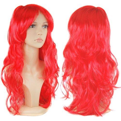 Accessotech donna lungo sexy ricci parrucche travestimento cosplay costume donna parrucca lunga festa - rosso