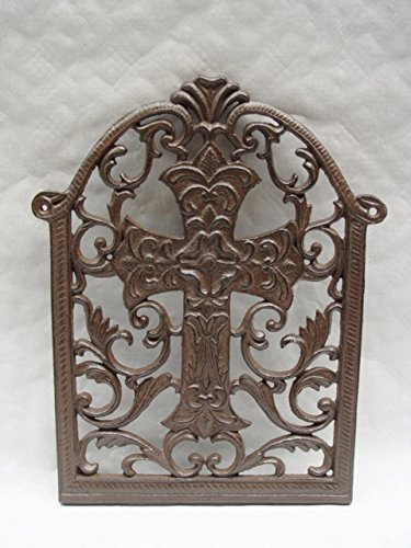 Deko Kreuz Kruzifix Fensterkreuz Vintage Gußeisen H:38,5cm