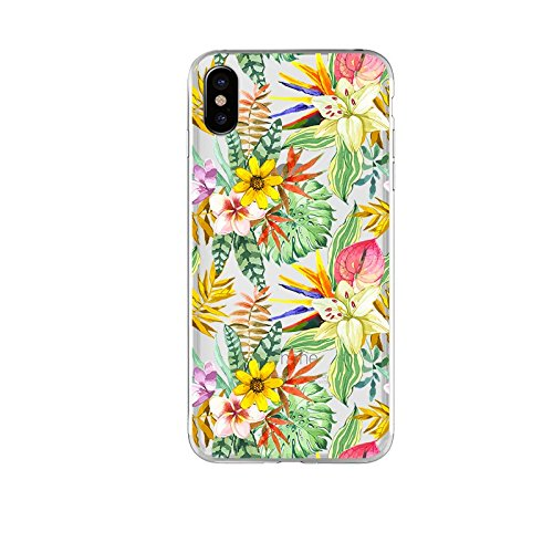 Garden Flower-serie (iPhone X Fall, blingy 's Real Beautiful Trocken Blume Serie Transparent Weich Gummi TPU Clear Case für iPhone X, Garden Flowers)
