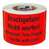 Aufkleber - Bruchgefahr! Nicht werfen! Attention! - 150 x 100 mm - 500 Stück auf Rolle, leuchtrot, permanent haftend - Versandetikett, Warnetikett, Paketaufkleber