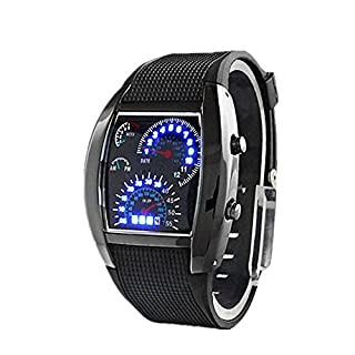 Cool Auto Meter Zifferblatt Geschlechtsneutral Blau Blitz Punkt Matrix LED Lauffuhr Armbanduhr