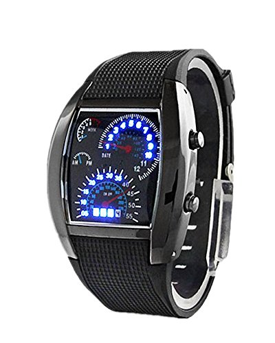 SAMGU Nouveau Cool Auto Meter Zifferblatt geschlechtsneutral Blau Blitz Punkt Matrix LED Lauffuhr Armbanduhr
