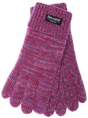 EEM Kinder Strick Handschuhe WARM AND HAPPY mit Thinsulate Thermofutter aus 100% Baumwolle, warm, klassisch, weich, Pinkmix, Größe ()
