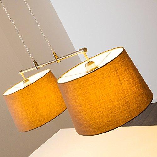 Pendelleuchte aus Stoff  – 2-flammige Zimmerlampe Höhenverstellbar, Farbe Cappuccino
