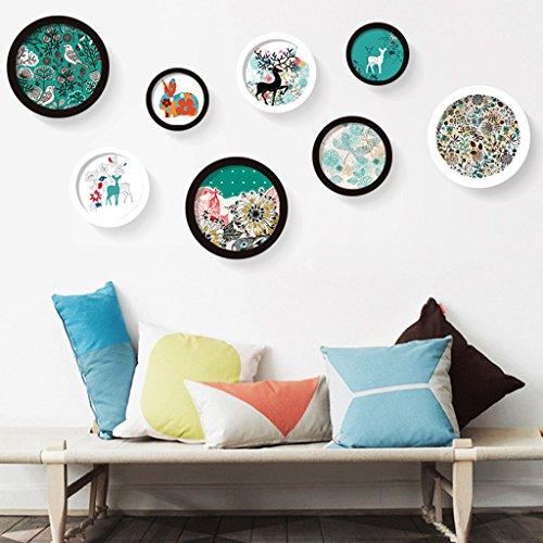 Dekorrahmen Runde Einfache Bilderrahmen Wand Sets von 8, kreative Rahmen Wand Kombination Wohnzimmer Suspension Kind Foto Wand Kombination Gemälde Set ( Farbe : C ) - Bilderrahmen Kinder, Runde