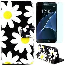 Semoss 2 in 1 Set Coque Fleur Cuir Housse de Protection Portefeuille pour Samsung Galaxy S7 Edge Wallet PU Flip Etui Cover avec Fonction Stand / Carte Titulaire et Protecteur d'ecran