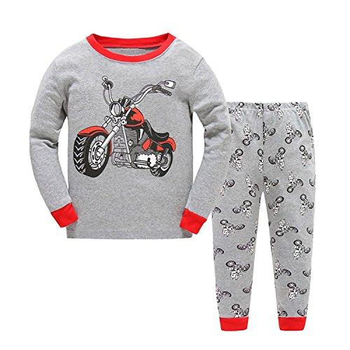 Kinder Jungen Bekleidung Langarm zweiteilig Schlafanzug niedlich Nachtwäsche Pyjama Sets (1-2 Jahre, Motorrad) (Motorrad-kinder-pyjama)