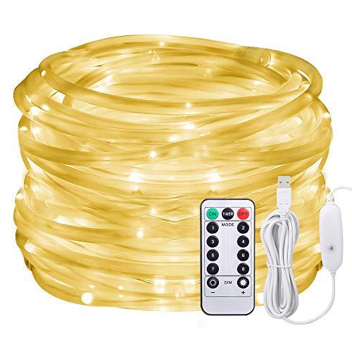 Lumières de corde menées, Afufu lumières de corde de 10M alimentées par USB, lumières de tube de 100 LED extérieures avec 8 modes, lumières de bande imperméables d'IP65 décorations de Noël