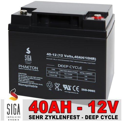 Preisvergleich Produktbild Akku 40Ah 12V AGM GEL Batterie Solarbatterie Modellbau Elektromobil Golf Caddy Trolley Boot 45Ah 12Volt