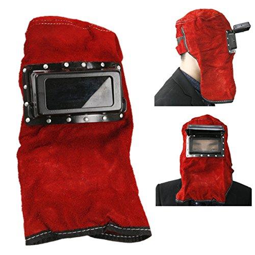 KUNSE Rotem Leder Gesicht Hals Geschützt Objektiv Gläser Schweißen Haube Helm Maske (Festigkeit Gesicht)