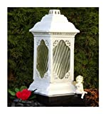 ♥ GRABLAMPE GRABLATERNE Kathedrale incl.GRABKERZE 36,0cm GRABSCHMUCK Herz GRABLEUCHTE Friedhof Grablicht