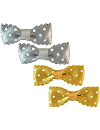 Sarah Small Polka Dots Pair Of Two Bow Clip For Girls - Grey & Gold