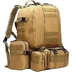 berchirly Militar mochila táctica bolsa grande Pack caza Camping, caqui