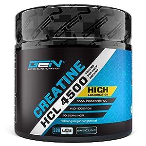 Creatine HCL 3000-320 Kapseln mit je 750 mg – 80 Anwendungen – Hochdosiert mit 3000 mg pro Tag – Kreatin Hydrochlorid für eine verbesserte Aufnahme – Laborgeprüft – Premium Creatin Verbindung