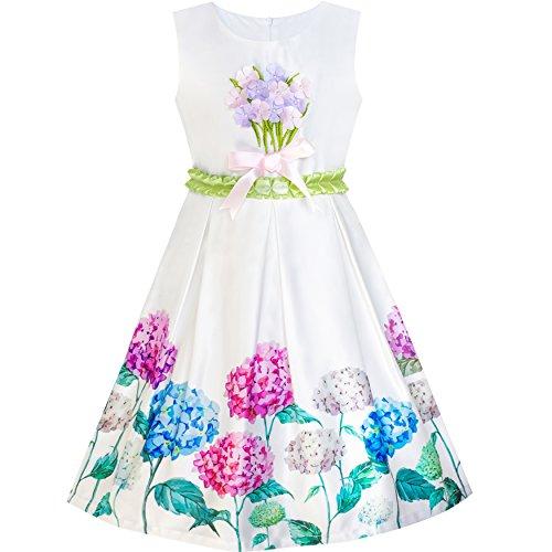 Mädchen Kleid Hortensie Blumen- Passen Und Fackel Satin Kleiden Gr. 134 (Größe In Voller Hortensie)