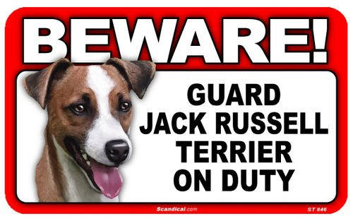 Warnschild mit Hochglanz Bild. BEWARE! Guard JACK RUSSEL TERRIER on Duty ca 20 x 12 cm