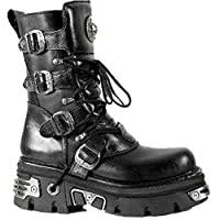 New Rock Newrock M.373-S4 Metallic Boots Black Leather Goth Biker Emo Fashion 6