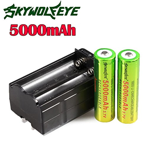 2 x Akku 18650 Batterie (5000mAh/3,7V/Li-Ion) + 1 x Ladegerät By huichang