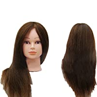 PetHot 45cm Hairdressing Training Head 100% Real Human Long Hair Model with Clamp Stand Practice Mannequin