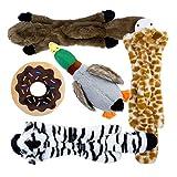Toozey 5 Stück Quietschende Spielzeug für Hund - DREI Füllungsfreie Hundespielzeuge und Zwei Plüschtierspielzeuge mit Füllung - Sicher&Ungiftig Kauspielzeug für Kleine und Mittel Hunde