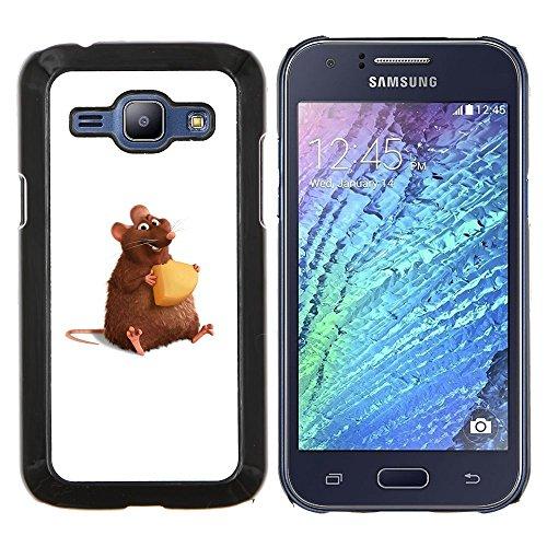 YiPhone /// Premium Slim Snap caso della copertura posteriore Armatura Shell - Ratto Roditore Criceto Cartoon Art Formaggio Carino - Samsung Galaxy J1 J100