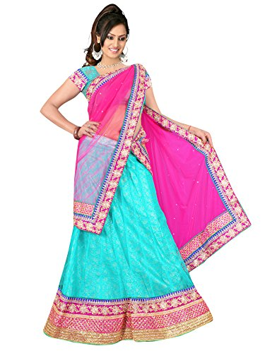 Winza Women Pink and Light Blue Lehenga saree with blouse  available at amazon for Rs.1998
