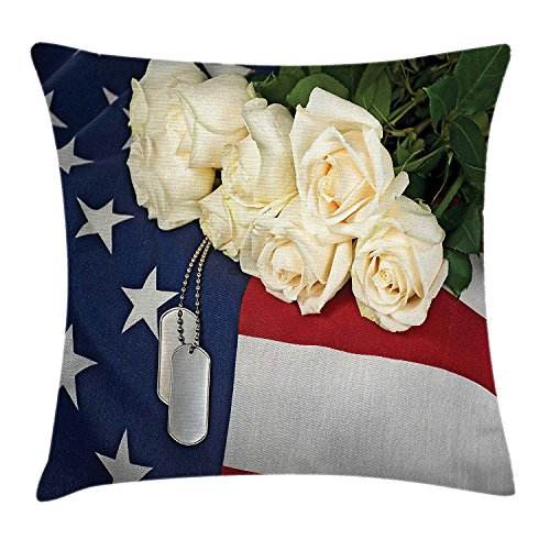 Veteran Throw Pillow Cushion Cover, Hanging Tags and a Bouquet of White Roses on The American Flag Patriotic Design, Decorative Square Accent Pillow Case, 18 X 18 Inches, Multicolor Cathay Rose
