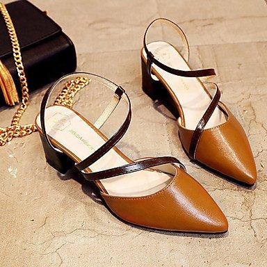 zhENfu Donna Sandali Comfort suole di luce PU abiti estivi Comfort suole Luce blocco tacco marrone chiaro beige grigio 2A-2 3/4in Light Brown