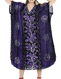 La Leela algodón batik de ropa de playa kimono traje de baño traje de baño de las mujeres del vestido caftán largo flojo