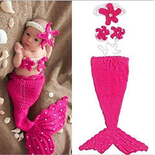 en Baby Mädchen Fotografie Requisiten Crochet Gestrickte Meerjungfrauen Kostüm Outfits Set Foto Schießen Kleidung (Baby Mermaid Outfit)