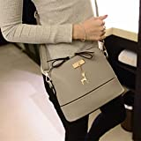 Hangbag, New Women Messenger Bags Vintage Small Shell Leather Handbag Casual Bag (Gray)