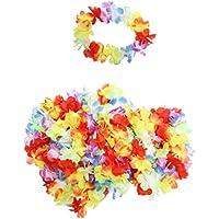 Confezione da 50 Fasce per Capelli Hawaiane Floreali a marchio KurtzyTM – Costumi da Spiaggia Hula