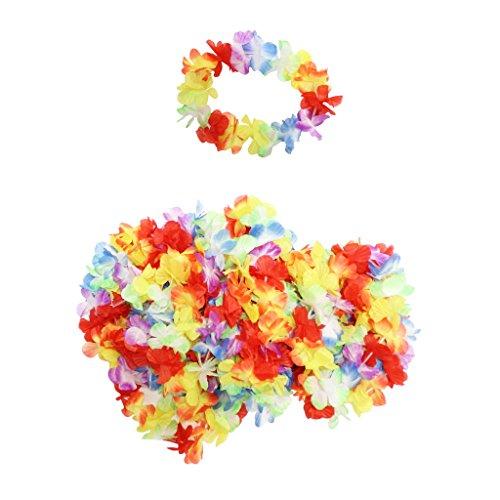Confezione da 50 Fasce per Capelli Hawaiane Floreali a marchio KurtzyTM - Costumi da Spiaggia Hula