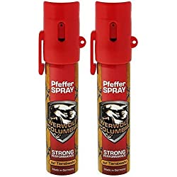 2x Werwolf Columbia Pfefferspray hochdosiertes Verteidigungsspray - Made in Germany - Spray zur Selbstverteidigung bei Tierattacken für die ganze Familie