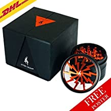 Thorinder Herb Grinder 4 Piece by AFTER GROW Color Orange Crusher Premium Quality Aluminium with Pollen Catcher&free Scrapper by AFTER GROW