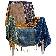 Estilo étnico Chenille jacquard borlas manta, sofá tela paño sofá ...
