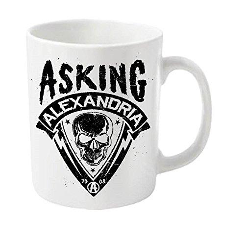 Asking Alexandria Skull Shield ufficiale nuovo bianco di ceramica