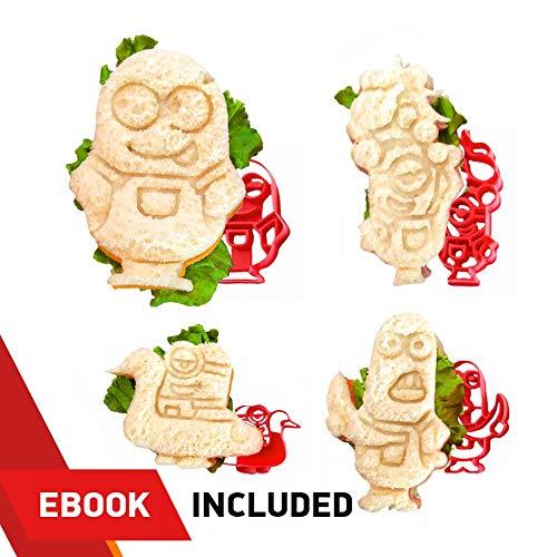 Minion Sandwich-Ausstecher - inkl. 4 verschiedenen Formen: Dave, Kevin, Stuart und Donny - perfekt für die Herstellung von Keksen, Mini-Sandwiches, Käse, Obst, Schinken und Bologna (Minion Figuren Verschiedene)