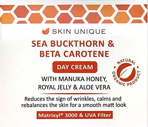 Sanddorn und Beta Carotin Tagescreme - 50 ml - Natürliche & organische Anti-Aging Gesichts-Feuchtigkeitscreme und Faltenfüller mit...